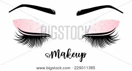 ffa27dde751 Poster of Makeup Master Logo. Vector Illustration Of Lashes And Brow. For  Beauty Salon, Lash Extensions Maker,