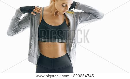 poster of Cropped Shot Of Fit Young Female Fitness Model Taking A Break After Workout Fitness Woman In Sportsw