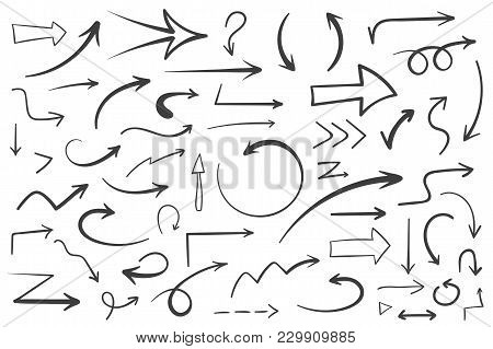 poster of 55 Hand Drawn Arrows On White Background, Doodle Arrows, Vector Eps10 Illustration