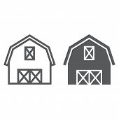 Farm Barn Line And Glyph Icon, Farming And Agriculture, Farm Hangar Sign Vector Graphics, A Linear P poster