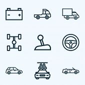 Automobile Icons Line Style Set With Steering Wheel, Prime-mover, Wheelbase And Other Truck  Element poster
