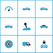 Постер, плакат: Automobile Icons Colored Set With Plug Chronometer Automobile And Other Gear Lever Elements Isola