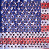 American Flag reflection in water drops. Refraction phenomena of American flag in water drops on gla poster