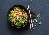 Pad Thai Vegetarian Vegetables Udon Noodles In A Dark Background, Top View. Vegetarian Food In Asian poster