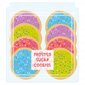 Hand Made Frosted Sugar Italian Freshly Baked Cookie With Pink Violet Blue Green Frosting And Sprink poster
