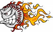 pic of fastpitch  - Cartoon Vector Image of a Flaming Baseball with Angry Face - JPG