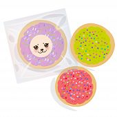 Frosted Sugar Cookies, Set Italian Freshly Baked Biscuit In Transparent Plastic Package With Pink Vi poster