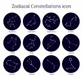 Set Zodiacal Constellations, Round, Night Sky Background, Icon Realistic. Collection Of Horoscope Sy poster