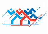 Cross-country Skiers. Illustration Of Abstract Sylized Cross-country Skiers. Vector Available. poster