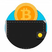 Electronic Wallet For Bitcoin Application Icon. Money Bitcoin Wallet App, E-wallet Electronic Label  poster