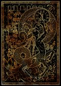 Zodiac Sign Capricorn On Black Texture Background. Hand Drawn Fantasy Graphic Illustration In Frame. poster