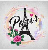 Eiffer Tower Hand Drawn Vector And Lettering. Modern Calligraphy Brush Lettering. Paris Ink Letterin poster