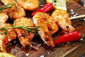 Grilled Shrimp Skewers. Seafood, Shelfish. Shrimps Prawns Skewers With Herbs, Garlic And Lemon. poster