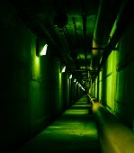 Psychedelic Green Deep In Underground Tunnel. Colored Industrial Background. Emergency Lighting, Row poster