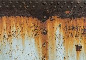 Metal Rust Texture With Riveting, Abstract Grunge Background poster