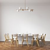 Long White Dining Room Table With White And Wooden Chairs Standing In A White Room. 3d Rendering Moc poster