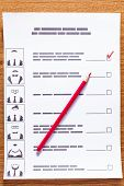 Election Of The Presidential Candidate. Presidential Elections. List Of Selections, Put A Tick, Pen, poster
