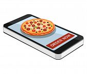 Order Pizza Using Smartphone Or Tablet. Order Pizza Online. Pizza And Smartphone Isolated On White B poster