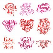 Happy Mothers Day Hand Drawn Calligraphy Text For Greeting Card Wishes. Vector Mother Day Celebratio poster