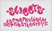 Candy Hand Drawn Typeset, Sweet Alphabet, Vector Illustration. Abc poster