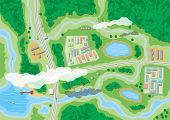 Suburban Map With Houses With Car, Boats, Trees, Road, River, Forest, Lake And Clouds. Village Aeria poster
