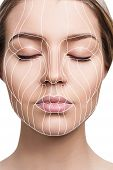 Face Lift Anti-aging Lines On Young Female Face. Graphic Lines Showing Facial Lifting Effect On Skin poster