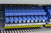 pic of contactor  - Blue electric relays in industrial automation process - JPG