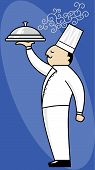stock photo of serving tray  - Chef serving covered tray of steaming hot food - JPG