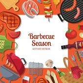 Vector Illustration With Barbecue Or Grill Cooking Theme With Place For Text. Bbq Cooking And Grill  poster