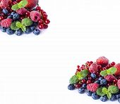 Mix Berries And On A White Background. Ripe Blueberries, Raspberries, Red Currants And Strawberries  poster