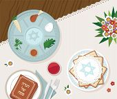 Traditional Passover Table For Passover Dinner With Passover Plate. Vector Illustration Template poster