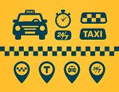 Taxi Icons Set. Flat Style Dark Icons On Yellow Background. Map Pin With Taxi Car, Checks, Map Pins, poster