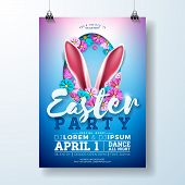 Vector Easter Party Flyer Illustration With Rabbit Ears, Flowers And Typography Elements On Blue Bac poster