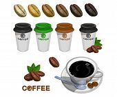 Set Of Paper Coffee Cups. Green Coffee. Cup Of Coffee. Coffee Logo. Modern Vector Illustration For W poster