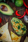 Avocado Boat - Guacamole Dip In Boat Made From Avocado Skin poster
