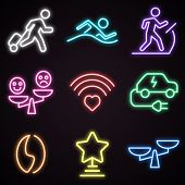Icon Set Of Neon Public Places Signs. Advertisement, Urban Services, Nightlife. Urban Life Concept.  poster