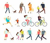 Active People Walking, Riding Bike, Running Outdoor Vector Character Set. Ride Bike And Activity Lif poster