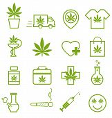 Marijuana, Cannabis Icons. Set Of Medical Marijuana Icons. Marijuana Leaf. Drug Consumption, Marijua poster