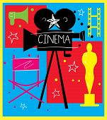 Abstract Poster Of Movie For Design. Colorful Elements On The Theme Of Movie. Colorful Illustration  poster