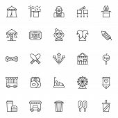 Circus Outline Icons Set. Linear Style Symbols Collection, Line Signs Pack. Vector Graphics. Set Inc poster