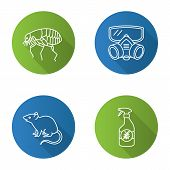 Pest Control Flat Linear Long Shadow Icons Set. Insects Repellent, Flea, Respirator, Rodent. Vector  poster