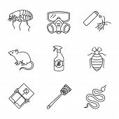 Pest Control Linear Icons Set. Flea, Respirator, Cockroach Repellent, Mouse Trap, Rodent, Bed Bug, S poster