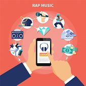 Rap Music Listening On Smartphone Flat Composition With Accessories Of Rapper On Orange Background V poster