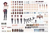 Young Trendy Woman Or Girl Construction Kit Or Creation Set. Bundle Of Various Postures, Hairstyles, poster