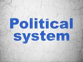 Politics Concept: Blue Political System On Textured Concrete Wall Background poster