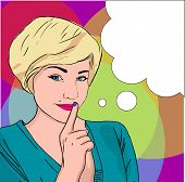 Pop Art Illustration Of Girl With The Speech Bubble.pop Art Girl. Party Invitation..comic Woman With poster