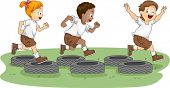 stock photo of boot camp  - Illustration of Kids in an Obstacle Course - JPG