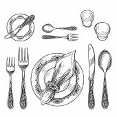 Table Setting Drawing. Hand Drawing Dinnerware With Napkin In Ring And Plate, Decorative Fork And Kn poster