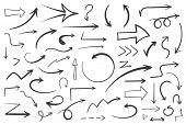 55 Hand Drawn Arrows On White Background, Doodle Arrows, Vector Eps10 Illustration poster
