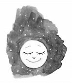 Cute Cartoon Cloud, Stars And Smiling Moon. Hand Drawn Watercolor Illustration Cute Smiling Moon, St poster